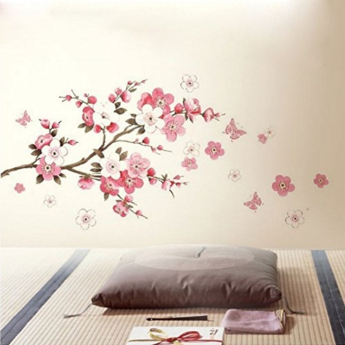 Auntwhale Flor rosa grande de Sakura Flor del árbol de cerezo Pegatinas de pared Calcomanía de pared desprendible del PVC para el cuarto de niños de las muchachas y de los muchachos de los niños