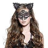 Haarreif Katzenohren & Lace Masquerade Set, [ Süße, Sexy & Komfort ], Haarreifen mit Ohren | Haarbänder Katze | Masks Damen | Maskenspie Kopfband Kostüm Accessories für Frauen