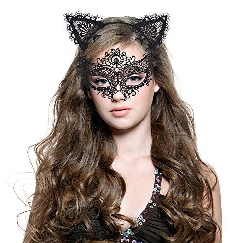 Katzen Kostüm Fasching - Haarreif Katzenohren & Lace Masquerade Set,