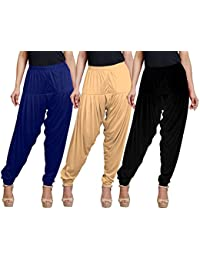 Eazy Trendz Women's Viscose Lycra Solid Patiala Pack Of 3-SKIN_BLACK_NAVY