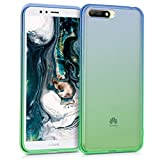 kwmobile Huawei Y6 (2018) Cover - Custodia in silicone TPU per Huawei Y6 (2018) - Backcover cellulare blu verde trasparente