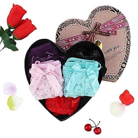 Pack Damen Hotpants Hipster mit verführerischen Spitzendetails -Lover 5-Pack, Heart-shaped Box Packed einheitsgröße