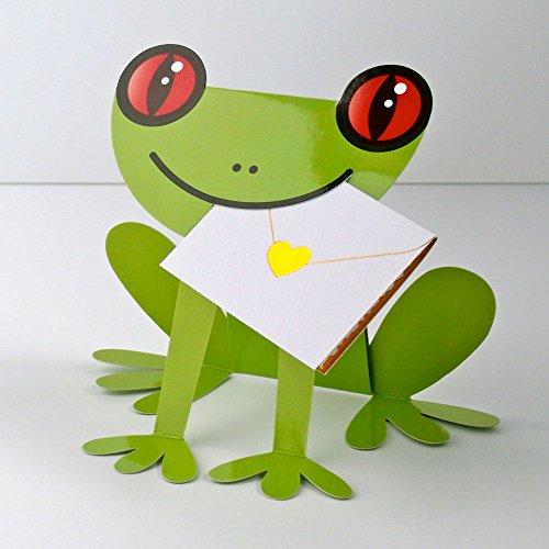 A forma di rana stand Up card-067cuscino verde rana occhi rossi