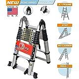 Euro Double Telescopic Aluminium Ladder 5 Meter (16.4 Feet) - Stores At 3 Feet - A Frame 9 Feet - Wall Support 17 Feet