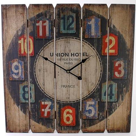 """Orologio da parete in legno , progettare """" Union Hotel """""""