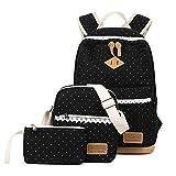 Donykarry 3 Teiliges Schultaschen-Set Mädchen Damen Canvas Schulrucksack + Umhängetasche + Mäppchen mit Moderne Spitzen (Schwarz)