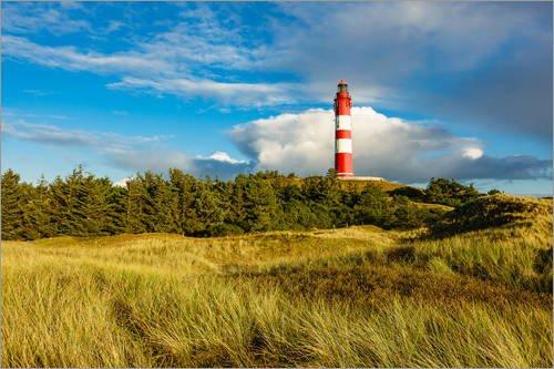 Stampa su acrilico 100 x 70 cm: Lighthouse on the North Sea island Amrum di Rico Ködder