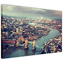"""Paisaje Tower Bridge de Londres antena View cuadros en lienzo pared arte casa oficina decoración, lona madera, 06- 40"""" X 30"""" (101CM X 76CM)"""