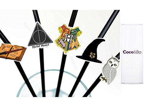Party Trinkhalme mit Zauber-Motiven–für Harry Potter Motto-Partys, Dekoration und Zubehör