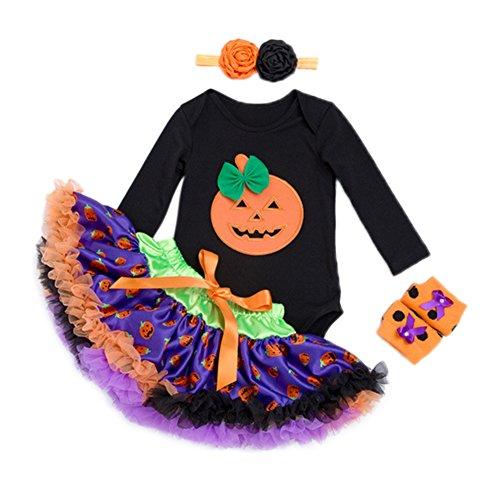 Zantec Halloween Baby Kleidung Mädchen Tulle Rock + Spielanzug + Stirnband + Leggings Set Baumwolle Party Bekleidung (Gruppe Halloween Kostüme Drei Mädchen)