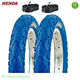 01021202K-B 2 x Kenda Kahn Fahrrad Reifen Decke mit Schläuche 62-203 - blau