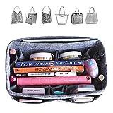 HyFanStr Filzeinsatz Handtasche Organizer für Frauen, Multi-Pocket Taschenorganizer Purse Make Up Beutel, M (Grau)