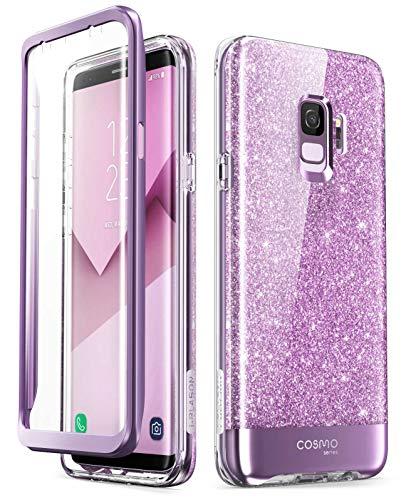 i-Blason Hülle Kompatibel für Samsung Galaxy S9 Glitzer 360 Grad Handyhülle Bumper Case Glänzend Schutzhülle Full Cover [Cosmo] mit integriertem Displayschutz, Lila