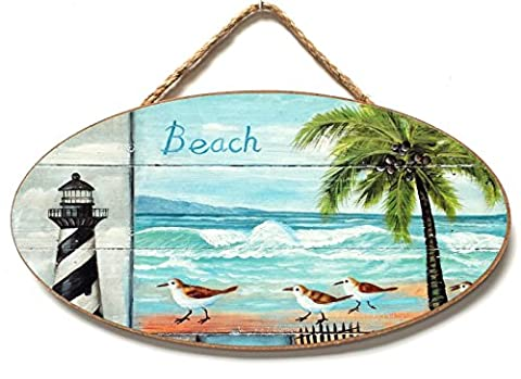 Oval shaped Nautical, Seaside, Marine Themed Hanging Wall Plaque, Sign (BEACH (Lighthouse & Palm))