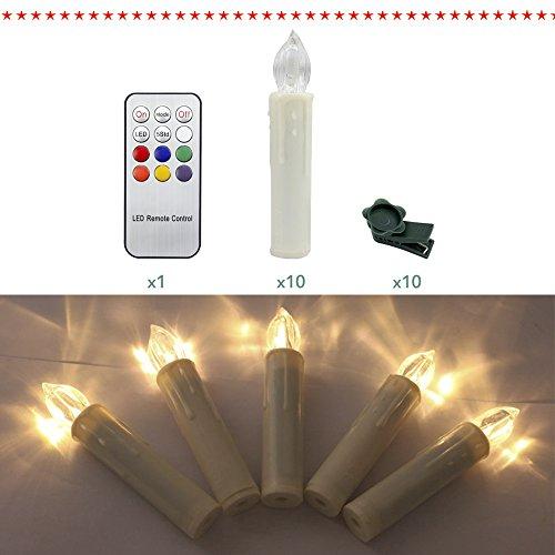 HJ® 10set LED Velas de Navidad Luces de Hadas Velas de Árbol Velas de Navidad árbol de navidad inalámbrico regulable