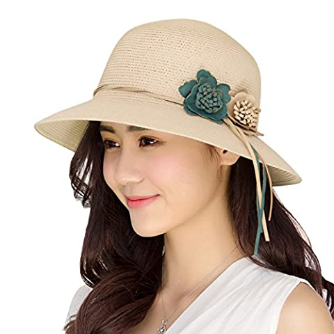 Women Ladies Summer Sun Hat - WITERY Wide Brim Sun Hats Beach Hat Sun Visor Cloche UPF50+ Cap Full UV Protection for Women Girl