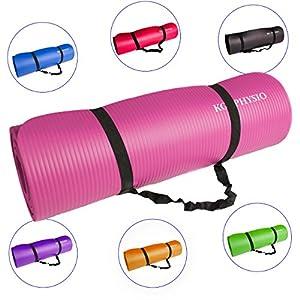 Rutschfeste Yogamatte von KG | PHYSIO - 12 mm dicke Premium-Fitnessmatte fürs Fitnessstudio, Pilates oder zuhause mit Schultertragegurt (auf der Innenseite der Matte) 183cm x 60cm x 1.2cm