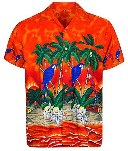 V.H.O. Funky Hawaiihemd, Kurzarm, Papagei, orange, XL