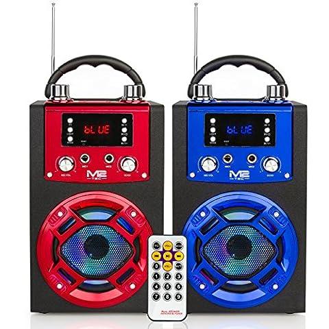 M2-Tec HiFi tragbarer Lautsprecher Modell R106 3W mit Bluetooth, internem Akku, Disco Licht, USB- und SD-Anschluss, Karaoke Speaker
