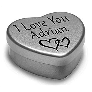I Love You Adrian Mini Heart Tin Gift For I Heart Adrian With Chocolates. Silver Heart Tin. Fits Beautifully in the Palm of Your Hand. Great as a Birthday Present or Just as a Special Gift to Show Somebody How Much You Love Them.