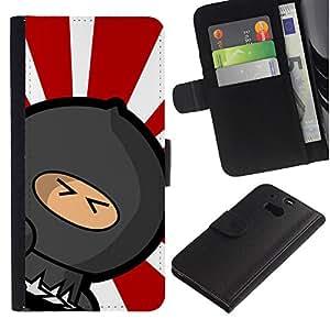 SmartPhone PU-lederne Handyhülle Ledertasche Hülle Schutzhülle Geld-Slot Kartensteckplätze der R HTC One M8 // Rising Sun japanische Ninja Warrior // JUSTGO PHONE PROTECTOR