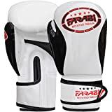 Farabi Kinder Boxhandschuhe, Junior Muay Thai Training Handschuhe, Kinder Boxsack mitt (White/Black, 8-oz)