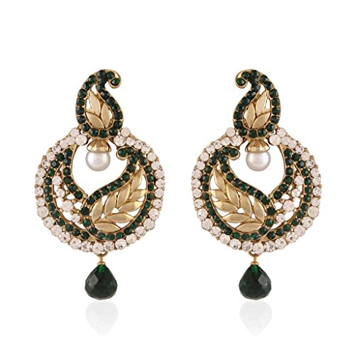 I Jewels Traditional Gold Plated Leaf Shaped Earrings for Women E2223G (Green)  available at amazon for Rs.249