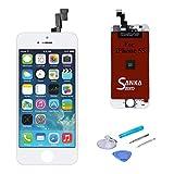 SANKA LCD Tactile Ecran Retina Vitre Display Digitizer de Remplacement Assemblée Complet pour iPhone 5S - Blanc (Free outils Inclus)