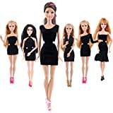 TIME4DEALS 6 Sets Upscale Handmade Black Dress for Barbie Dolls Clothes Casual Wear