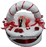 Frotteebox Geschenk Set Brautpaar auf Torte mit Bogen groß in Handarbeit geformt aus 2X Handtuch (100x50cm) und 1x Gästetuch (50x30cm) weiß
