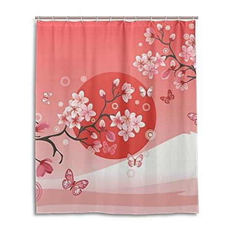 Suabo Polyester Tissu imperméable Rideau de douche décoratif de salle de bain Rideau avec 12crochets 152,4cm (L) x 182,9cm (H) pouce, Sakura Cherry Blossom Motif