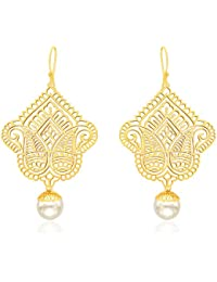 Ahilya Jewels Imperial Filigree Collection .925 Sterling Silver Gold Plated Drop Earrings