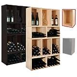 Weinregal / Flaschenregal VENETO, Holz Kiefer natur, Kiste für 18 Fl., stapelbar / erweiterbar - H 30 x B 45 x T 30 cm