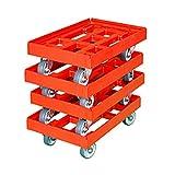 Transportroller 600 x 400 mm 4er Pack rot