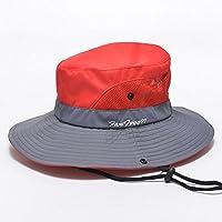 ZHANWEI Sombrero para el sol sombrero de playa Temporada de verano Mujer Fibra de poliéster Protección solar Sombrero de pescador Tapa redonda Ajustable Ensanchar el borde, 4 colores, 57.5cm ( Color : Rojo )