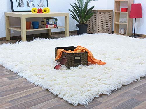 Flokati Teppich Qualität 1500 natur Kult Shaggy Teppich Hochflor Langflor 100% Schurwolle, Größe: 140x200 cm -