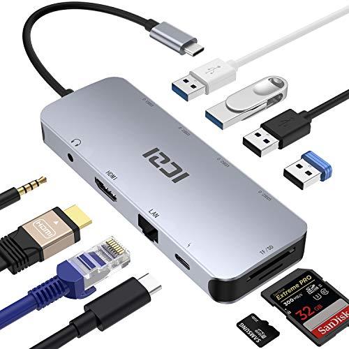 ICZI USB C Hub 10 in 1 mit 4 * USB 4K HDMI RJ45 Gigabit Ethernet 3.5mm Audio Ausgang Micro SD/TF Thunderbolt 3 USB C (PD) Aluminum für Google Chromebook Pixel Mi Air Mi Pro