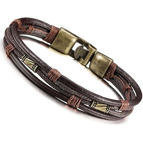 Jstyle De cuero para hombre de la vendimia de la pulsera de la cuerda del abrigo Muñequera de Brown