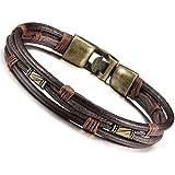 Jstyle Bracelet Homme Alliage avec Leather Cuir cordon - Chaîne de Main - Tribal Tressé - Bracelets-manchettes - 21.5 cm de Longueur