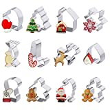 Iindes Set di 12 Biscotti di Natale per Bambini - omino di Neve Albero di Natale e Altre Forme in Acciaio Inox Biscotti by