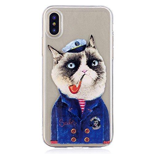 Cover iPhone X, Voguecase Custodia Silicone Morbido Flessibile TPU Transparent Custodia Case Cover Protettivo Skin Caso Per Apple iPhone X(fiore Skull 12) Con Stilo Penna Tubo Gatto 01