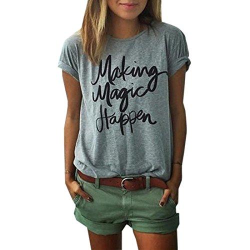 BLACKMYTH Mode Damen Sommer Lose T-shirt Schreiben Bedruckte Rundkragen lässige Baumwolle Tops Kurzarm Grau Medium
