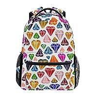 Ahomy School Backpack Book Bag for Teenager Girls Boys, Colorful Diamond Pattern Travel Backpack Satchel Hiking Bag for Women Men