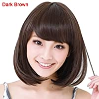 Synthetic for Wigs Anime Costume Cosplay Straight Short Curly Hair Wig Women Lovely Bob Hairpiece Synthetic Loose Curly Front Wig for Women Natural Heat Resistant Hair- Dark Brown 19Kenbeton