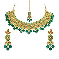 I Jewels Gold Plated Traditional Kunzite Pearl Necklace Set with Earrings & Maang Tikka For Women (M4115G)
