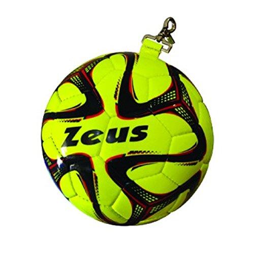 ZEUS Ball Pendel Trainingsball mit Haken Fußball Hallenfußball, unisex - erwachsene, GIALLO FLUO-NERO-ROSSO