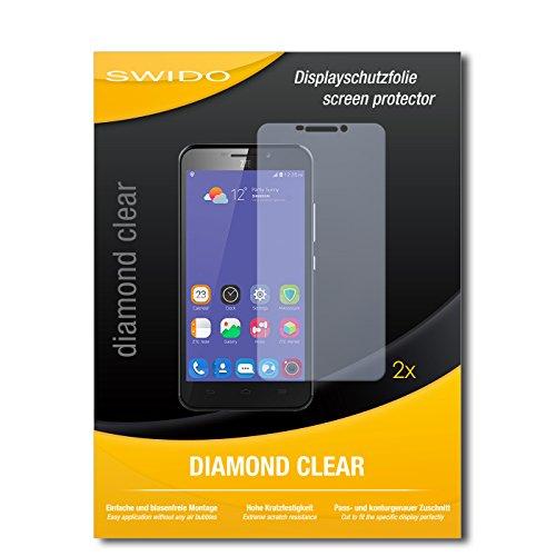 SWIDO 2 x Bildschirmschutzfolie ZTE Grand S3 Schutzfolie Folie DiamondClear unsichtbar