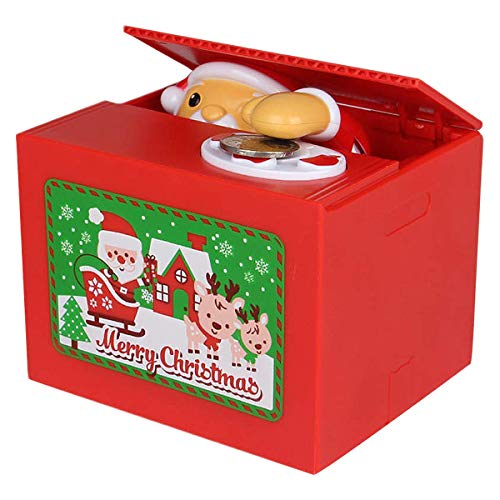 Hucha con Musica per EUR Automático Caja de Ahorros Dinero la Papá Noel Banco de Dinero Regalo para Infantiles Niño Niña Gran Capacid