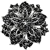Sanwood Cluster Rhinestones Blossom Flower Crystal Brooches Pin