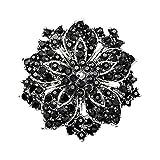 Sanwood Cluster Rhinestones Blossom Flower Crystal Brooches Pin (Black)